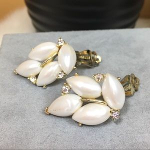 Vintage Faux Pearl & Rhinestone Clip-On Earrings